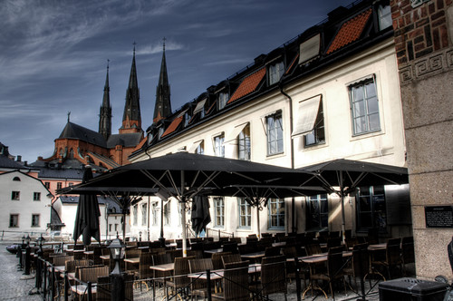 Terrace and cathedral. Uppsala. Terraza y catedral