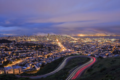 Twin Peaks (M. Shaw) Tags: sanfrancisco california lighting longexposure bridge sunset building cars beach architecture night clouds canon lights neon treasureisland cloudy twinpeaks baybridge embarcadero bayarea ferrybuilding bluehour transamerica rinconpark 2470mmf28l canoneos5dmarkii mshaw 5dmark2