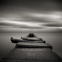 Edgewater: Study III (Jeff Gaydash) Tags: longexposure blackandwhite water square pier seascapes greatlakes edgewater lakescapes edgewaterpark nd110