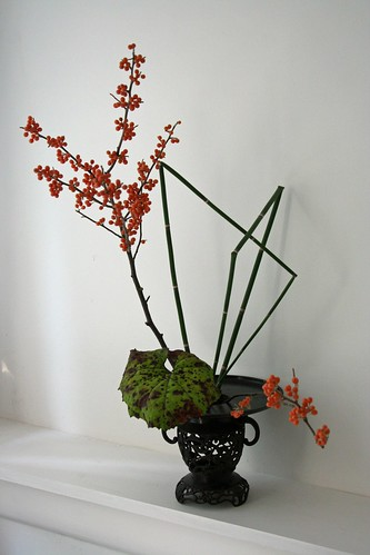 ikebana with orange berries