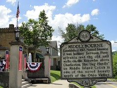 West Virginia ~ Middlebourne (erjkprunczk) Tags: signs rural village tyler westvirginia marker americana roadside oldglory countyseat upperohiovalley middlebourne erjkprunczyk wv18 bunitng