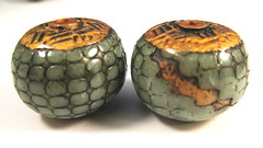Antique Gold Capped Sea Green Pebble Textured Focal Beads