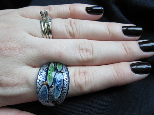 green and blue glass ring