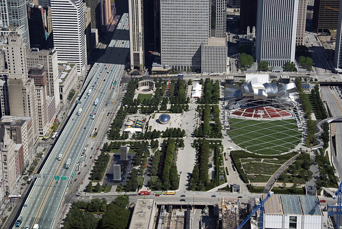 Millennium Park imagined with an elevated Interstate dividing it from downtown Chicago