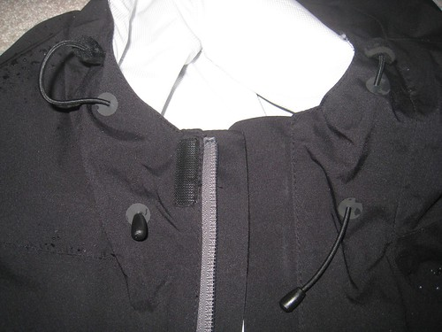 Detail of the cord closures for the hood.