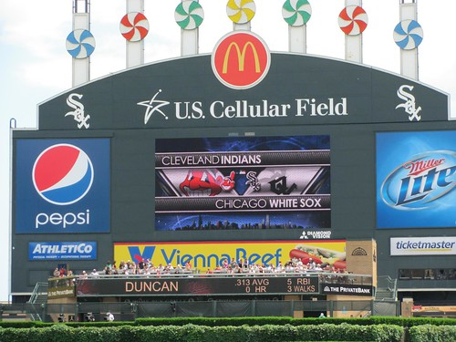 chicago white sox logo wallpaper. Scoreboard with Indians and White Sox logos