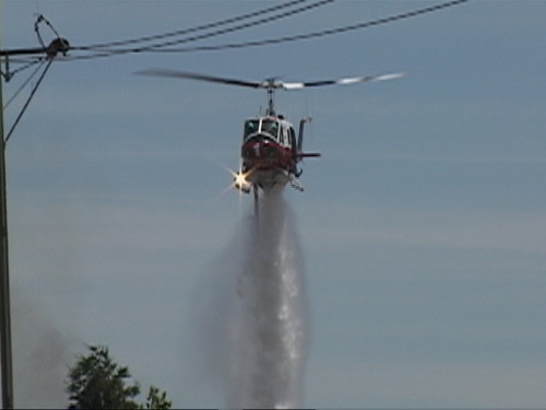 Sacramento Metro Fire Copter 1 at Grass Fire in North Highlands, CA 6-9-2010