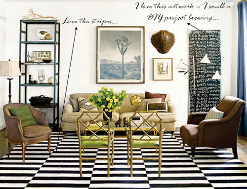 Stripe rug living room