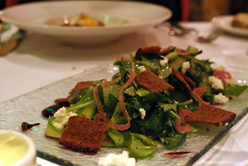 asparagus and spring greens; lemon ricotta, pickled shallot, preserved lemon, pumpernickel, mustard tarragon vinaigrette