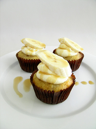 Banana Coconut Cupcakes With Creme Fraiche Frosting and Coconut Caramel Sauce