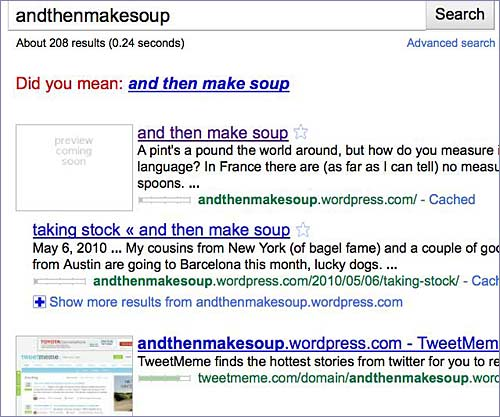 andthenmakesoup search