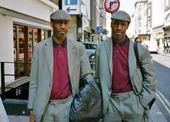Twins in Soho (deepstoat) Tags: street portrait colour london zeiss 35mm twins soho snap similar uncanny contaxt3 identical deepstoat