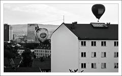 7981 (Voss-Nilsen) Tags: plaza roof bw white black hot oslo norway danger canon hotel norge photo risk aviation air tops fare hus raddison luftballong hustak ballones luftballonger luftfart flyvning flyving flyvinger