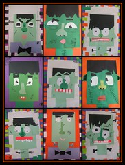 franks. (artsy_T) Tags: green art halloween monster collage squares frankenstein elementary rectangles elementaryart
