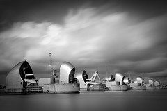 Thames Barrier (peterhayward28) Tags: cloud white black london monochrome thames river mono big long exposure 10 greenwich stop filter lee barrier stopper