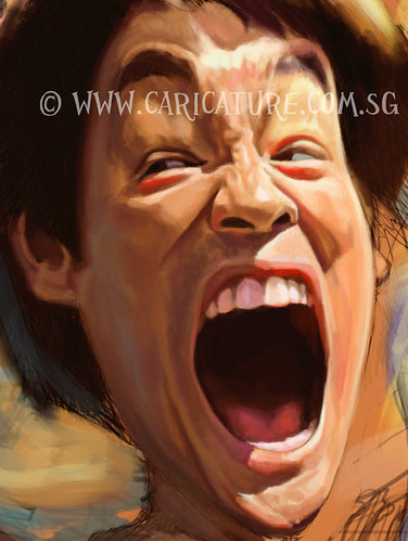 digital caricature sketch of furious Bruce Lee - 5 watermark