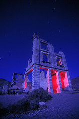 Rhyolite (Lost America) Tags: lightpainting abandoned night ruins nevada fullmoon urbanexploration ghosttown rhyolite strobe ue urbex