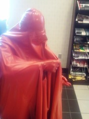 Finished a Drink at the Bookstore (latexladyll) Tags: public fetish shopping rubber latex burqa