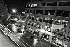 Black and White Street Light trails of my civic and his integra (C. Campbell) Tags: chris light red white black streets wet rain night oregon honda buildings photography nikon downtown shot c garage si parking trails eugene turbo flare civic campbell acura integra hdr rolling lense d3000 ccampbell