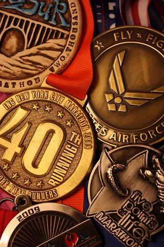 my 2009 marathon medals.