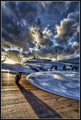 Into the great beyond (JoelDeluxe) Tags: blue brown white black newmexico plane airplane albuquerque dukecity b17 nm joeldeluxe bomber hdr libertybelle doubleeagleairport