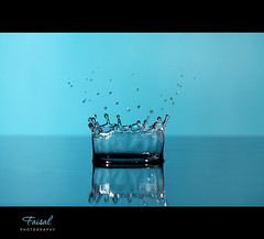 Drop Crown.. (Faisal | Photography) Tags: blue water speed photography high bravo drop explore setup splash frontpage canonef100mmf28macro canoneos50d dropcrown canonspeedlitetransmitterste2 canonspeedlite580exii faisal|photography