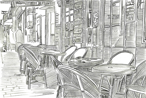 roadside restaurant pencil sketch