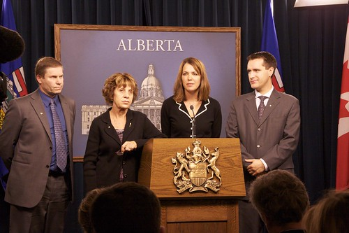 Wildrose leader Danielle Smith and Wildrose Alliance MLAs Paul Hinman, Heather Forsyth, and Rob Anderson. January 2010.