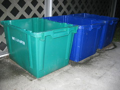 The 3 recycling bins that I use regularly. (FormerWMDriver) Tags: box can bin container recycle recycling crate