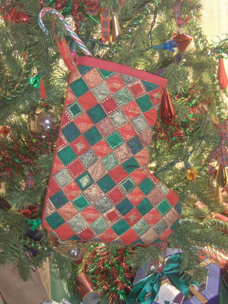 Christmas stocking on tree