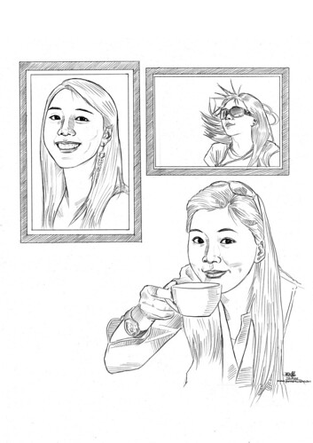 3 portraits of a lady in pencil