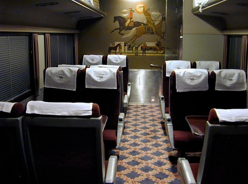 Private Rail Car - Silver Lariat, coach, dining, interior showing original 1948 artwork