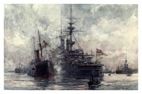 021- Un acorazado repostando carbon-The Royal Navy (1907)- Norman L. Wilkinson