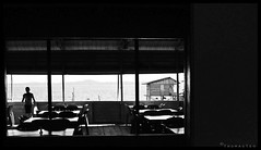 Breakfast view (T.Thomas) Tags: old school sea bw white house black water breakfast indonesia lens prime quiet view f14 rustic sigma charm resort simple sayang stilt bintan 30mm kelong fujiflim s5pro