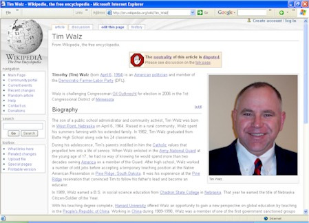 Objectivity Warning On Tim Walz Wikipedia Page on 08/1/05