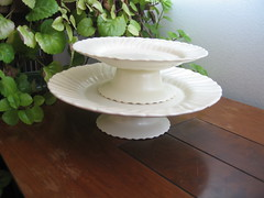 Possible Cake/Dessert Stand (krakencrafts) Tags: white cakestand diy cream plate gmb coronado sherbet franciscan californiapottery gladdingmcbean