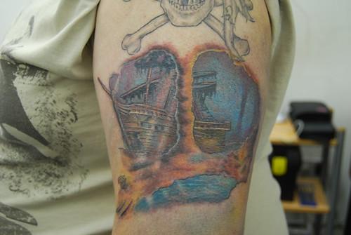 pirate ship scene in colour tattoo