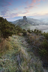 Winter Mist, Corfe Castle (antonyspencer) Tags: uk winter mist castle nature sunrise landscape frozen frost view heather ruin national dorset trust spencer antony corfe hilltop purbeck gorse downland vieew 1635ii 5dii