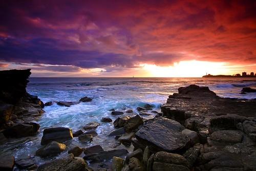 フリー画像| 自然風景| 海の風景| 海岸の風景| 夕日/夕焼け/夕暮れ| 雲の風景| オーストラリア風景|     フリー素材|