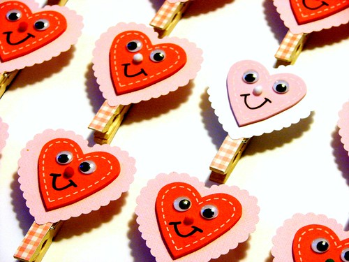 Valentine Clothespin Clip Magnets