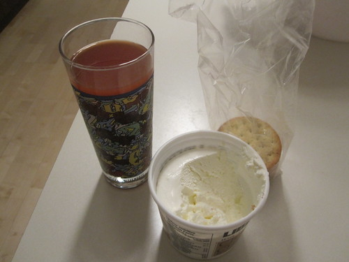 Crackers, cream cheese, tomato juice
