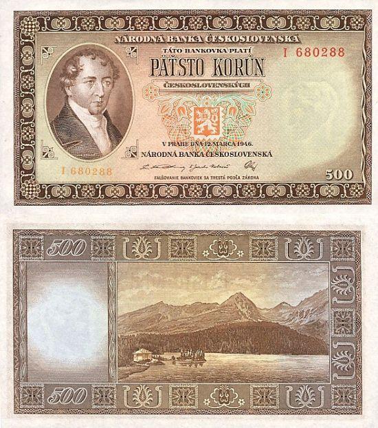500 Kčs A/2 Päťsto korún 1946 Kollár