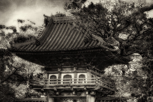 Illustrated Pagoda in Black & White