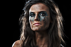 Devilish (LalliSig) Tags: blue portrait people woman brown white black green girl fashion studio iceland makeup headshot portraiture