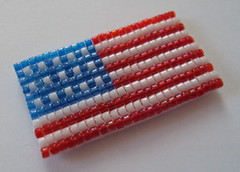 All American Handwoven Glass Bead Magnet (fivefootfury) Tags: usa kitchen office unitedstates flag americanflag patriotic housewares american redwhiteandblue magnet homedecor fridgemagnet