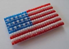 All American Handwoven Glass Bead Magnet (fivefootfury) Tags: usa kitchen office unitedstates flag americanflag patriotic housewares american redwhiteandblue magnet homedecor fridgemagnet