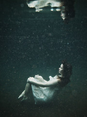 At peace (LalliSig) Tags: blue portrait woman white black reflection green water girl fashion iceland underwater gray pregnant maternity dirt dust portariture seljavallalaug