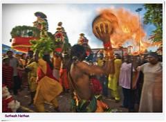 Fire Bearer (Sutheshnathan) Tags: festival lights malaysia kualalumpur hindu batucaves kavadi muruga thaiousam