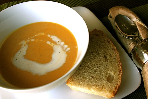 Squash Soup - This sassy squash soup has a nice heat that warms up your throat but doesn't burn off your tongue. Feel free to add more sriracha!
