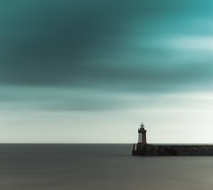 lonely red light (s k o o v) Tags: longexposure lighthouse clouds grey aqua minimal filters minimalist guernsey canon5014 nd110